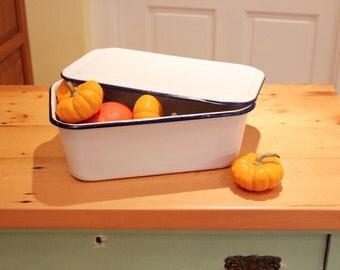 Put a Lid On It ... Vintage Enamelware Refrigerator Box with Lid, White and Cobalt Blue - Cottage, Farmhouse Decor; Storage & Organization