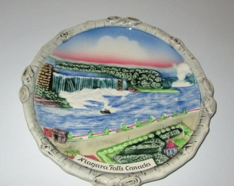 ON SALE Vintage Rare Majolica Niagara Falls Canada Plate Made in West Germany 1950s