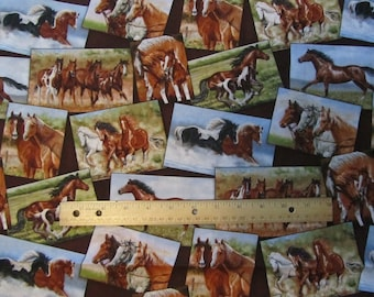 Multicolor Portrait Horses Cotton Fabric by the Yard