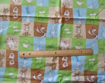 Brown/Blue/Green Dr Seuss Characters Blocked Cotton Fabric by the Yard