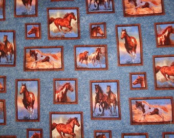 Blue Blocked Running Horse Cotton Fabric by the Yard