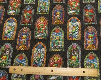 Black Zelda and Friends Stained Glass Windows Cotton Fabric by the Yard