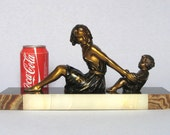 Superb Vintage French Art Deco Statuette from the 1930s, on marble base