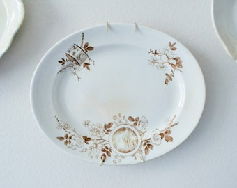 Antique Aesthetic Brown and White Transferware Platter, Victorian, Brown and Cream,