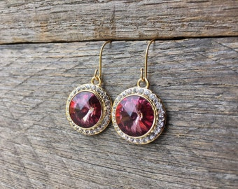 Antique Pink Crystal Earrings Swarovski Rhinestone Dangle on Silver or Gold French Wire Hook