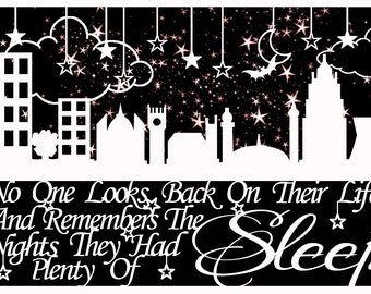 The Night they had Plenty of Sleep Quote Papercutting Paper Cut jpeg Template