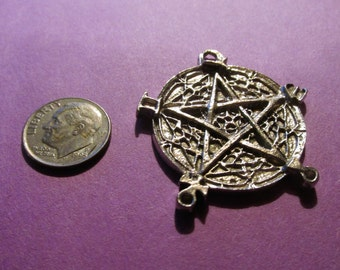 Six Pewter Wiccan Pentagram Pentacle Pendants