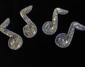 Set of 4 Silver sequin music note Sew-On Applique