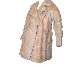 Mink Coat Vintage Boho 70s Fur and Leather Stroller Coat M Car Coat Champagne Blonde Mink