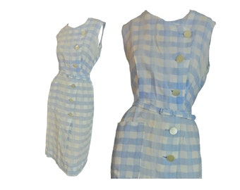 Vintage 40s Day Dress Cotton Size Large Blue and White Checkered As Is