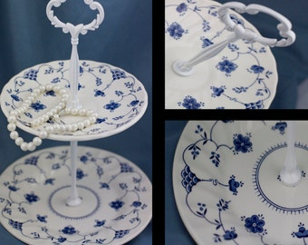 Tiered Server, 2 Tier Jewelry Stand Blue White China Tidbit Catchall Tray Hostess Gift Jewelry Display, Gifts Under 25