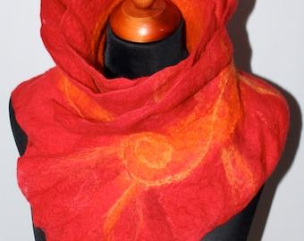 SALE !!! Handmade Merino Wool Felted Ruffle Red Orange Scarf Wearable Art