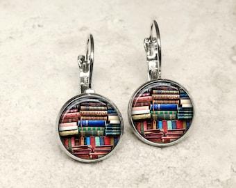 Glass dome book earrings, book earrings, bookshelf earrings, book leverbacks, book leverback earrings HG152LB