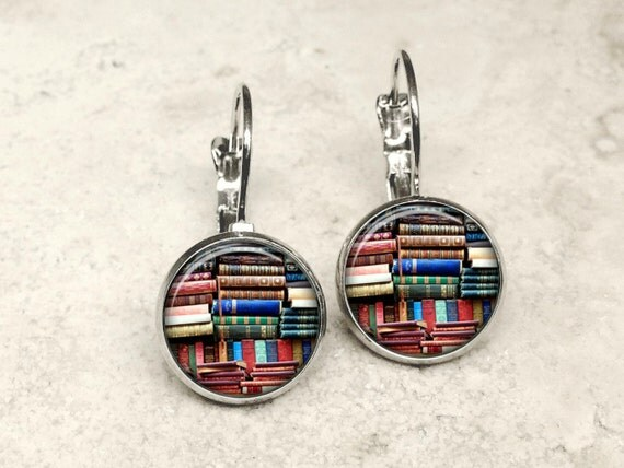 Glass dome book earrings book earrings bookshelf earrings
