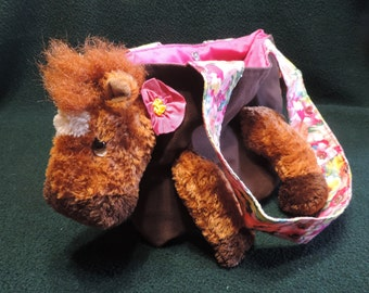 Horse - Pony Escapee.. Lined Tote Bag / Purse / Book Bag, Handmade from Recycled Upcycled Stuffed Animals and Brown Denim Jeans