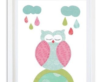 Nursery Owl Print, Nursery decor, Nursery Art, Owl art print, Raindrops, Girls room print, kids room art, wall art - Raining colour Owl