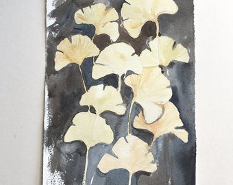 Ginkgo leaves watercolor painting/ Original watercolors only/ Botanical painting/ Ginkgo wall art/ Gray Yellow leaves illustration/ Gift mom