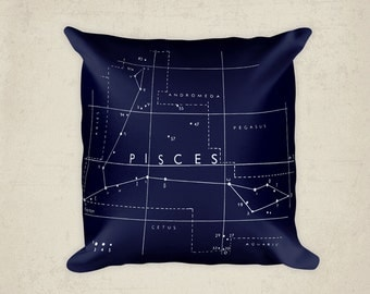 Pisces Pillow Cover, Astrological Constellation Throw Pillow, Zodiac Art, Home Decor, Horoscope, Celestial Decor, Antique Constellation