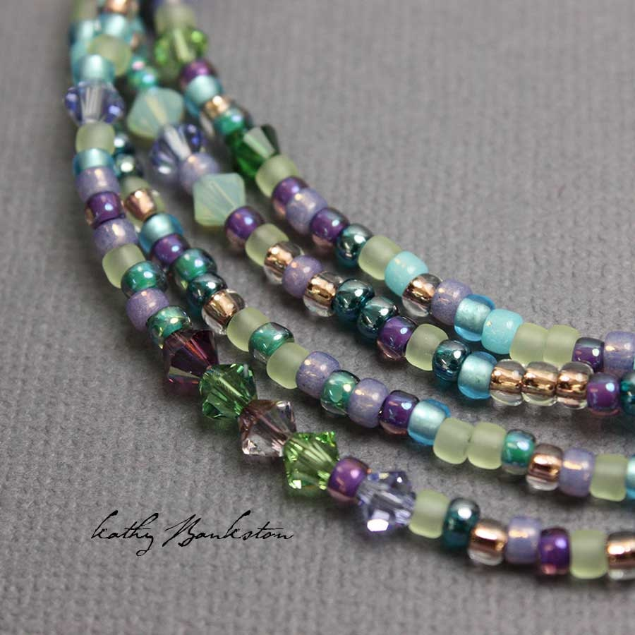 Beads Necklace Beads: Blue Purple Green Crystal Seed Bead Necklace Long Seed Bead