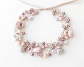 Multistrand pink gray freshwater pearl bracelet with crystal on silk thread