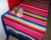 Pink Serape Cloth Table Runner - Weddings ! Girly!  Made from Mexican Serape Blanket Fabric - Party, reception, wedding, birthday