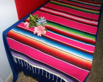 PINK SERAPE TABLE Runner -- Girly!  Made from Mexican Serape Blanket Fabric - Party, reception, wedding, birthday, girls room