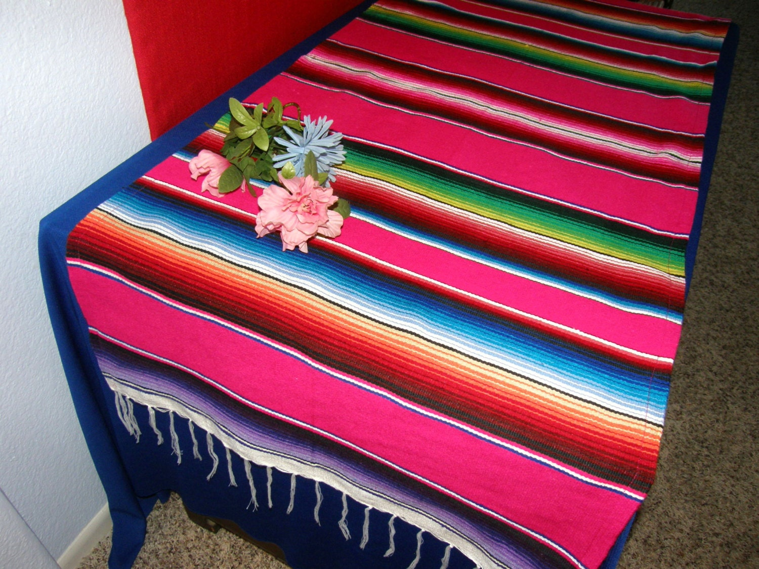 Pink Serape Table Runner Girly Made From Mexican Serape