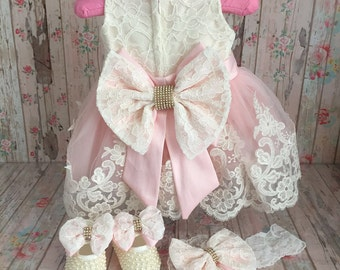 Sale!!! Baby Easter lace dress with matching shoes and headband