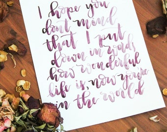 Hand-painted Moulin Rouge Quote