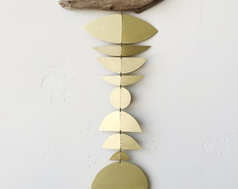 Brass geometric wall hanging + geometric mobile // Ready-to-ship