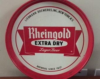 Rheingold Extra Dry New York Beer Tray Tea Tray Wall Bar Decor