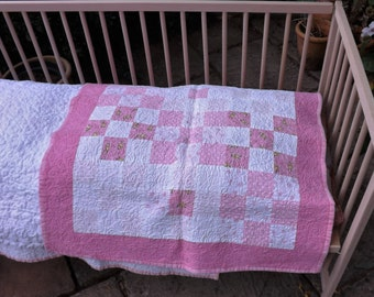 Pink and White Square Girls Patchwork Cot Quilt - Handmade