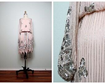 HEAVY Glass Beaded Silk Dress // Heavily Sequin Embellished Blush Pink Silk Dress // Bugle Bead Dress w/ Belt