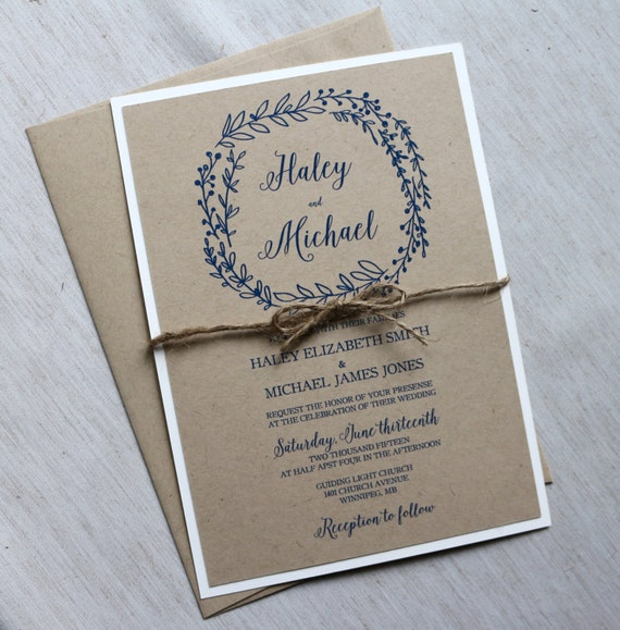 Items Similar To Rustic Wedding Invitation, Kraft Wedding