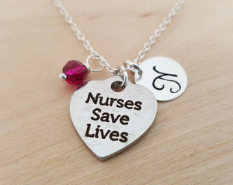 Nurses Save Lives Charm Necklace -  Swarovski Birthstone - Custom Initial - Personalized Sterling Silver Necklace / Gift for Her  Nurse Gift