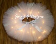 White Angel LED Light Up Tutu-Christmas Angel Tutu-Adult Angel Tutu-Angel Rave Tutu-White Glitter Rave Tutu