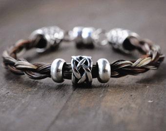 Silver Horse Hair Bracelet | Horse Hair Jewelry | Horse Lover Gifts | Custom Equestrian Bracelet | Celtic Horse Hair Bracelet | Torrin Horse