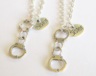 2 Sisters Partner In Crime Handcuff  Bff Necklaces