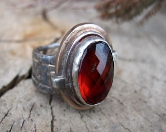 Garnet Ring Hessonite Ring  Ring Sterling Silver Jewelry Garnet Ring