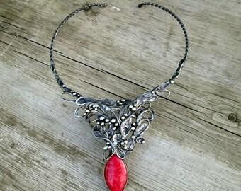 necklace with rhodochrosite