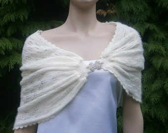 Kahlan II  - Ivory - Knitted stole, Wedding cape, Capelet, Bridesmaid Shawl **Ready To Ship**