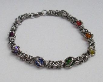 Rainbow Capture Micro Byzantine Bracelet