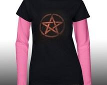 Pentacle t-shirt, Pentagram, Pagan, occult, clothing, Long sleeved shirt, ladies, womens, birthday gift, gift for her, Uk Seller