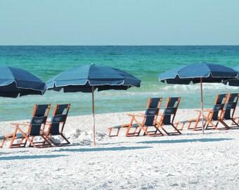 Beach Photograph Beach Umbrella Photo Blue Coastal Decor Beach Decor