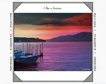Greeting Cards for Breast Cancer Patients & Survivors, Card for Cancer Patient, Cancer Support, Lake George Sunset Picture, digital art