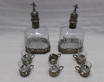 Antique Rococo-Style Storck and Sinsheimer Glass Decanters | 2-Piece Set