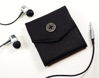 Leather Earbud Holder, Earbud Case, Earbud Pouch, Upcycled Leather Wrapped Earbuds, Earbud Organizer, Techie Gifts, Mens Gifts