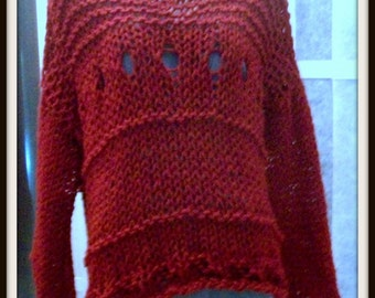 SWEATER WOMEN KNITTED Bulky Red Long Sleeves Chunky Oversized Loose