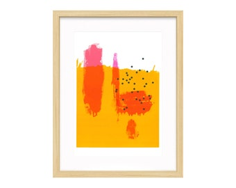 """Abstract No. 1 // limited edition modern neon abstract silkscreen print on 14x17"""" paper"""