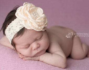 FREE SHIPPING! Ivory Baby Headbands, Ivory Headbands, Ivory Flower Headbands, Ivory Headbands, Christening Headband, Large Ivory Headband